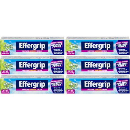 5 Pack Effergrip Extra Strong Denture Adhesive Cream Zinc Free 2.5oz Each Effergrip Denture Adhesive Cream
