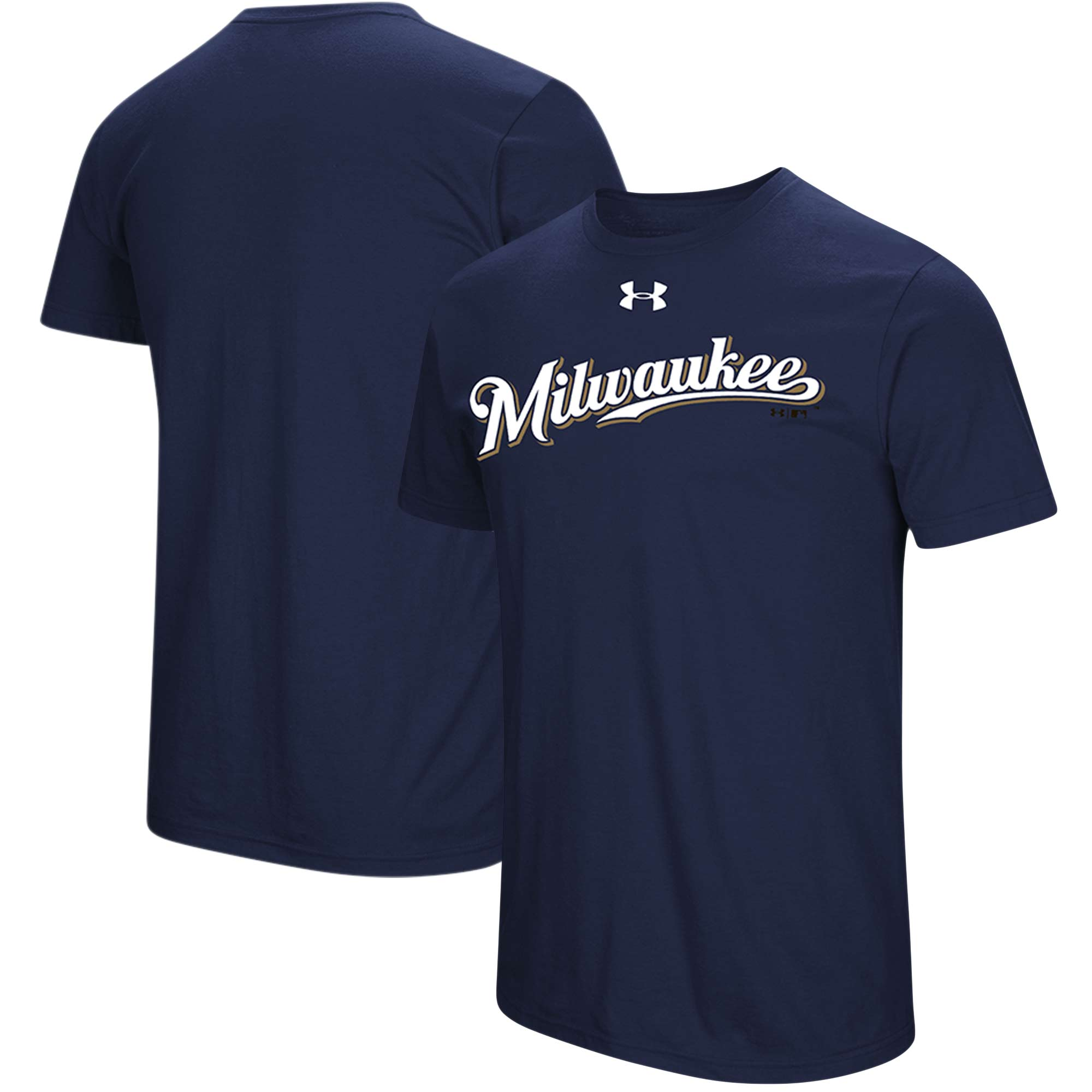 Milwaukee Brewers Under Armour Passion Road Team Font T-Shirt - Navy