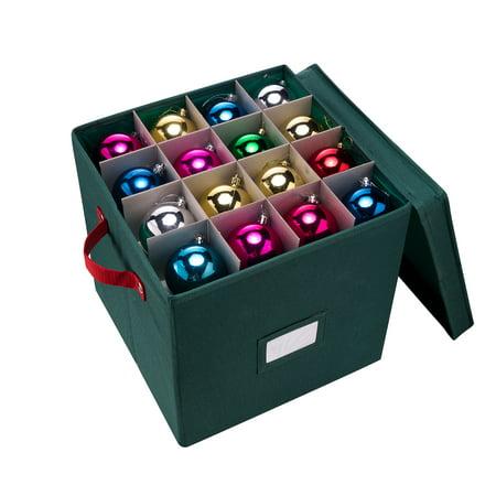 Elf Stor Premium Green Christmas Ornament Storage Chest For 64 Balls W Dividers