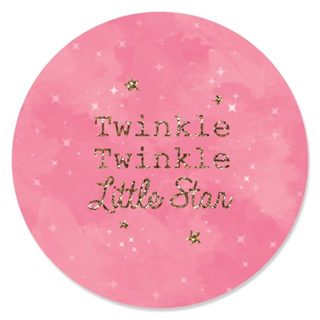 Pink Twinkle Little Star - Baby Shower or Birthday Party Circle Sticker Labels - 24 Count - Twinkle Little Star Baby Shower