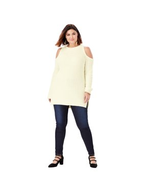 a72c5d7cb70 Product Image Roaman s Plus Size Cold-shoulder Sweater With Shaker-stitch