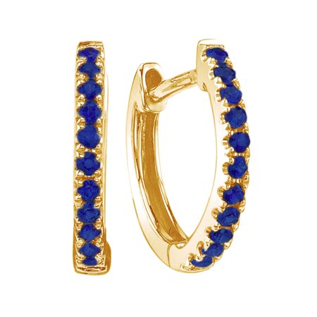 14K Yellow Gold Over Sterling Silver Round Shape Simulated Blue Sapphire Single Row Hoop Earrings