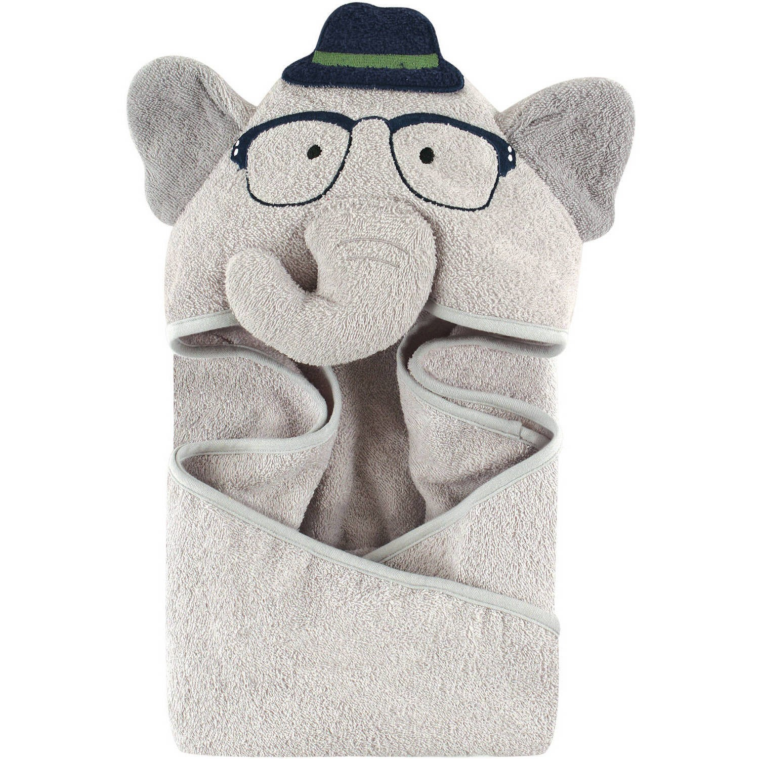 Hudson Baby Woven Terry Animal Hooded Towel, Blue Elephant