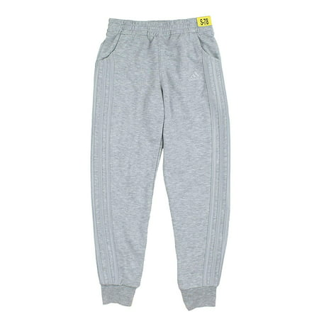 adidas Girls French Terry Pants (Grey Heather, Small)