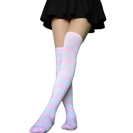 Mukola Womens girls Long Striped Socks Over Knee Thigh High Socks Stocking](Stockings For Girls)