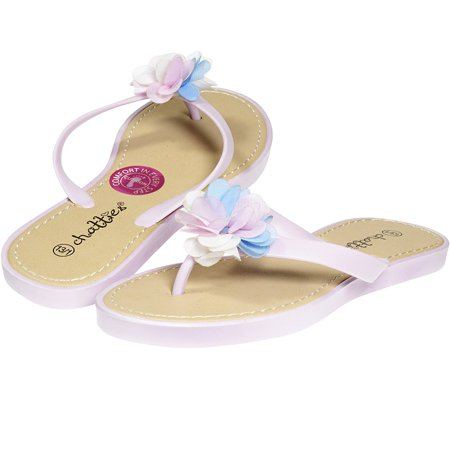 7bb484b40d07 Chatties By Sara Z - Chatties By Sara Z Jelly PCU Thong Flip Flop Sandal  with Flower for Girls Big Kid Size 2-3 Light Pink - Walmart.com
