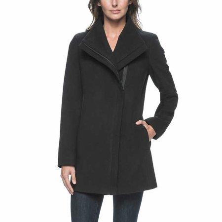 Andrew Marc Women's Asymmetrical Zip Wing Collar Long Coat (Black, Medium)