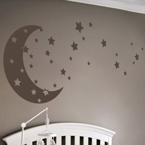 The Decal Guru Moon and Stars Wall Decal
