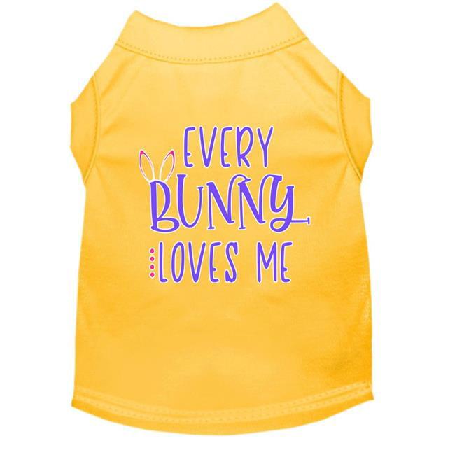 Every Bunny Loves me Screen Print Dog Shirt Yellow Lg (14)