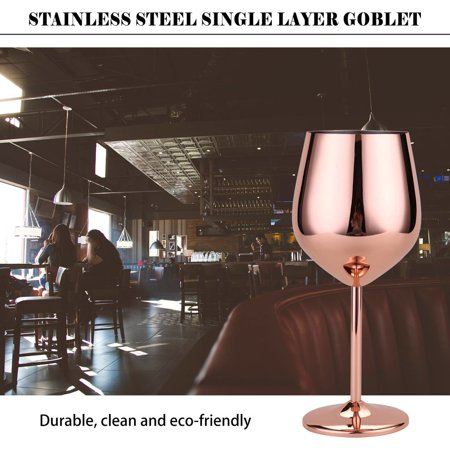 Stainless Steel Red Wine Glass Copper Plated Single Layer Goblet Kitchen Tools - image 5 of 10