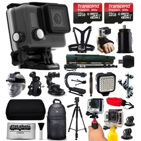Gopro Hero  Lcd Camera Camcorder  Chdhb 101  With Ultimate Accessory Bundle Includes 64Gb Memory   Selfie Stick   Chest   Head Strap   Backpack   Led Night Light   Car   Pole Mount   Tripod   More