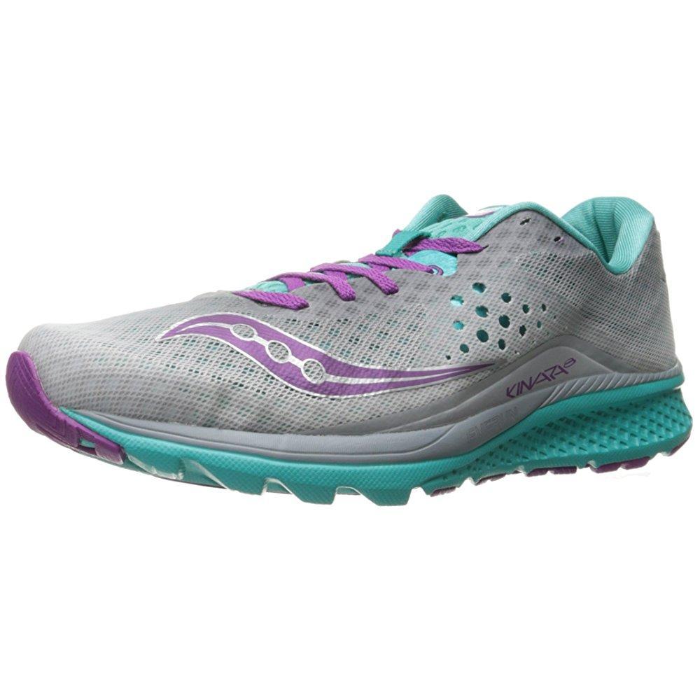 9d203cc3 saucony women's kinvara 8 running shoe, grey/teal/purple, 9 m us