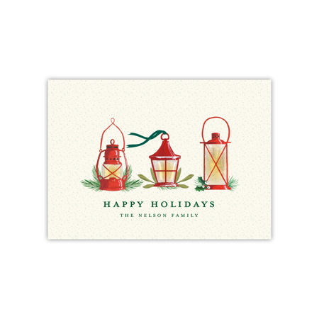 Personalized Holiday Card - Glowing Lanterns - 5 x 7 Flat Flat Holiday Photo Card