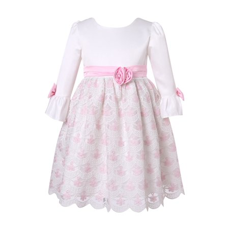 Little Girls Pink White Floral Adorned Party Dress 4