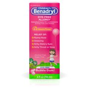 Children?s Benadryl Dye-Free Allergy Liquid, Bubble Gum, 4 fl. oz