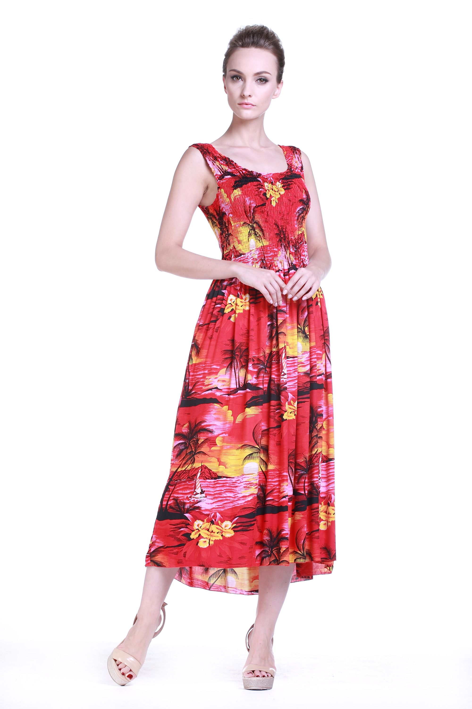 Women\'s Hawaiian Maxi Tank Elastic Luau Plus Size Dress Sunset Red