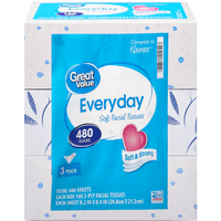 Great Value Everyday Facial Tissues, 480 Tissues, 3 Pack