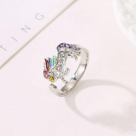 AkoaDa 2019 Fashion Unicorn Crystal Rings Multicolored Diamond For Women Girls Lucky Adjustable Opening Cartoon