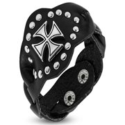 Genuine Black Leather Pattee Cross Stud Snap Wristband Bracelet