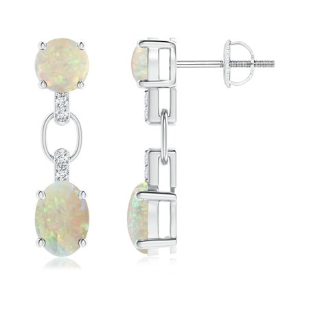 October Birthstone Earrings - Round and Oval Opal Dangle Earrings with Diamond Accents in 14K White Gold (7x5mm Opal) - - Diamond Oval Dangle