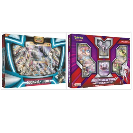 Pokemon Lucario GX Collection Box and Mega Mewtwo Y Figure Box Trading Card Game Collection Box Bundle, 1 of Each. Great Variety Gift Set For Boys or - Natural Gift Pokemon