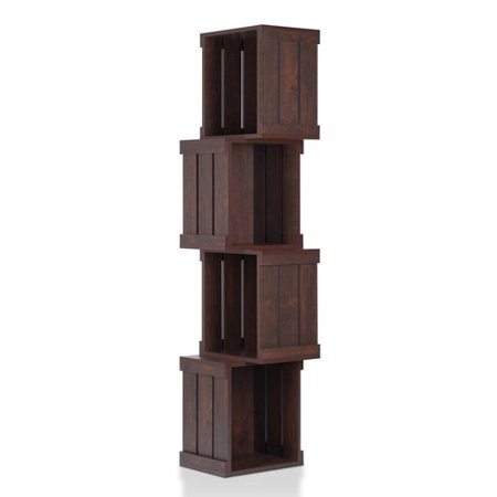 Dario Corner Crate Bookcase Rustic Style - Vintage - Style Walnut