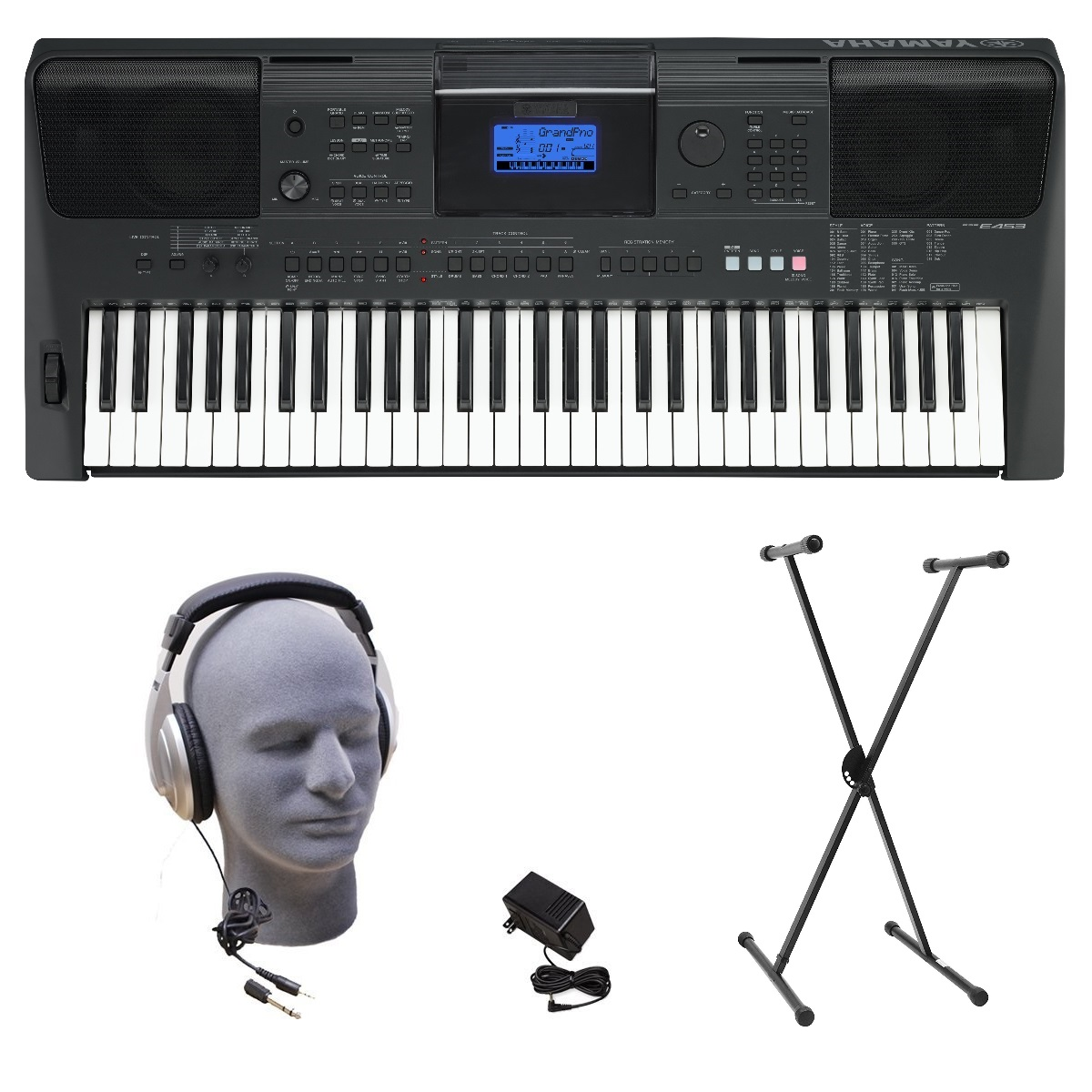 Yamaha PSRE453 Portable Keyboard with Headphones, Power Supply, & X-Style Stand by Yamaha