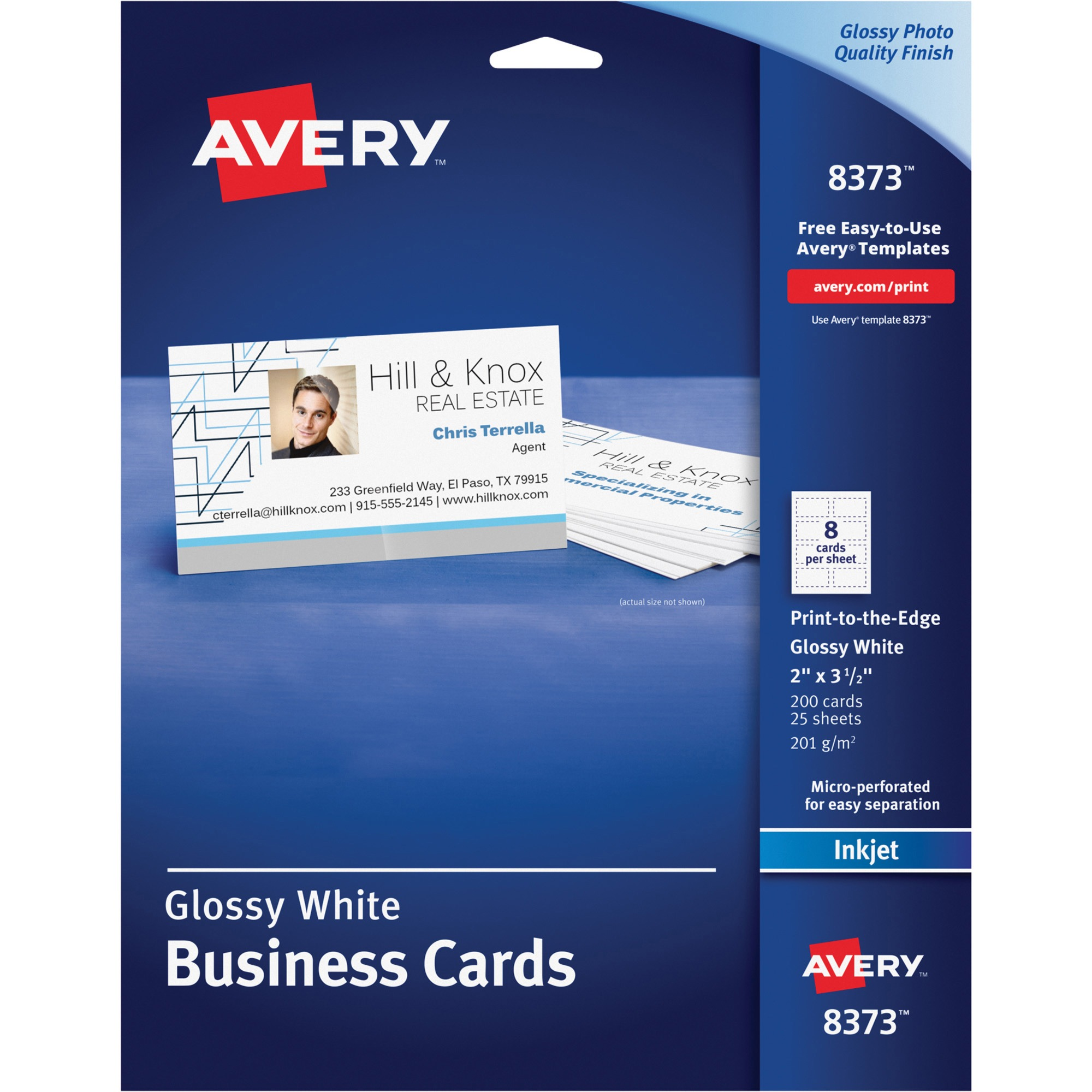 Avery Print-to-the-Edge Microperf Business Cards, Inkjet, 2x3 1/2 ...