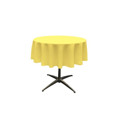 LA Linen TCpop51R-YellowLgtP99 Polyester Poplin Tablecloth, Light Yellow - 51 in. Round](Yellow Table Cloth)