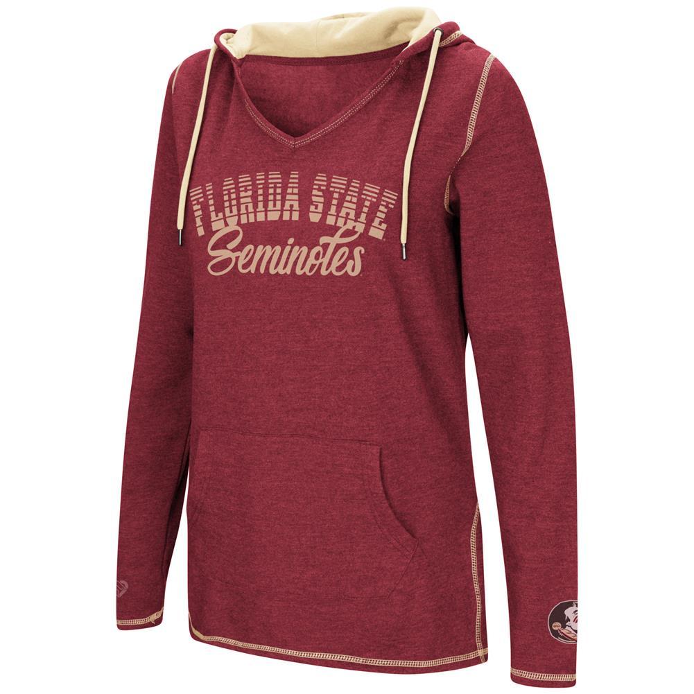 FSU Florida State University Ladies V-Neck Hoodie Pullover Sweatshirt