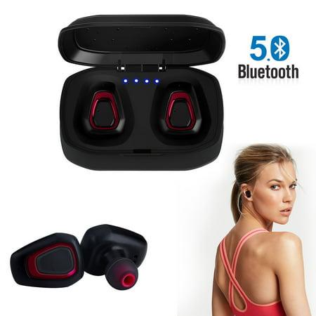 Bluetooth 5.0 Bass True Wireless Headphones, Sports Wireless Earbuds Earphones, Built-in Microphone for iPhone, Samsung, Android (Wireless Headphones With The Best Bass)