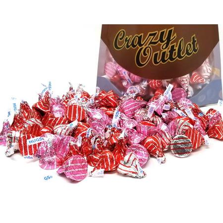 Hershey's Kisses Valentines Hugs White Crème Candy, Red Silver Pink Foils, Bulk, 3Lbs](Hershey Hugs)