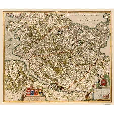 Old Germany Map Schleswig Holstein Region De Wit 1688 23 X