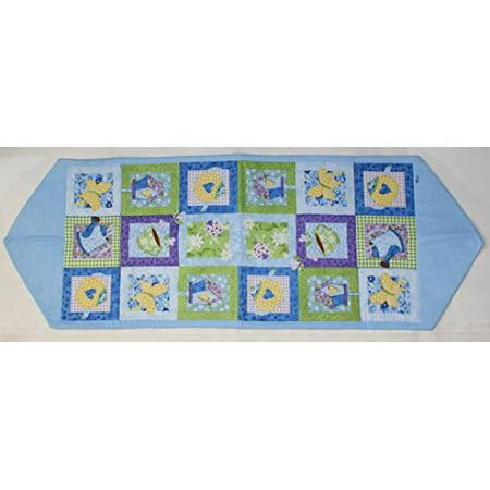loretta for home applique table runner 13 inch x 36 inch blue. Black Bedroom Furniture Sets. Home Design Ideas