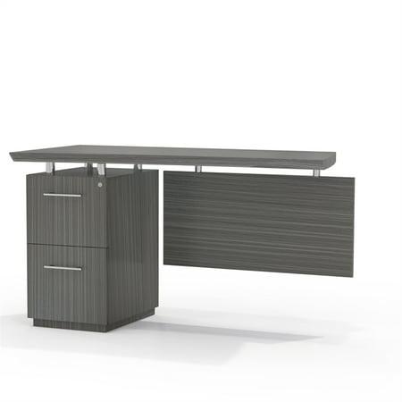Left Single Pedestal (Single Pedestal Left Handed Desk Return with 1 Box/Box/File Pedestal, Textured Driftwood)