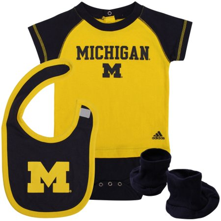 Michigan Wolverines adidas Infant Lil Tee Creeper, Bootie & Bib Set - Navy Blue - 24 MO](Wolverine Outfits)