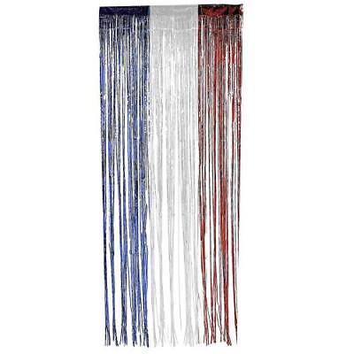Mylar Curtain Drapes (Fringed Mylar Curtain 3'wx8'l R/W/B For)