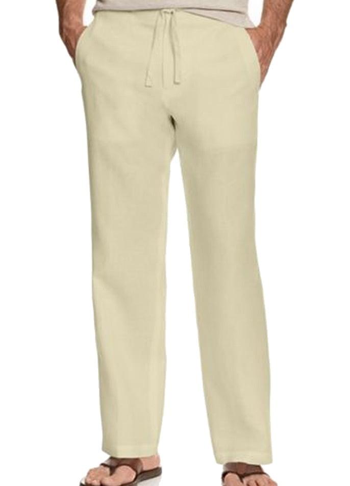 Tasso Elba Mens Linen Flat Front Pants Natural Khaki 36x32