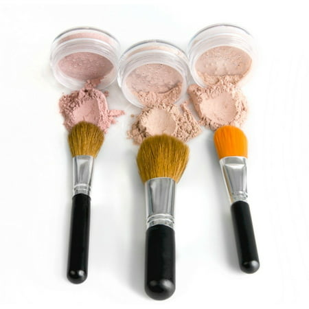 Mineral Makeup Concealer Brush (TRIO WITH BRUSHES Full Size Kit Mineral Makeup Brush Set Foundation, Concealer, Blush Bare Face Sheer Powder Cover (FAIR)