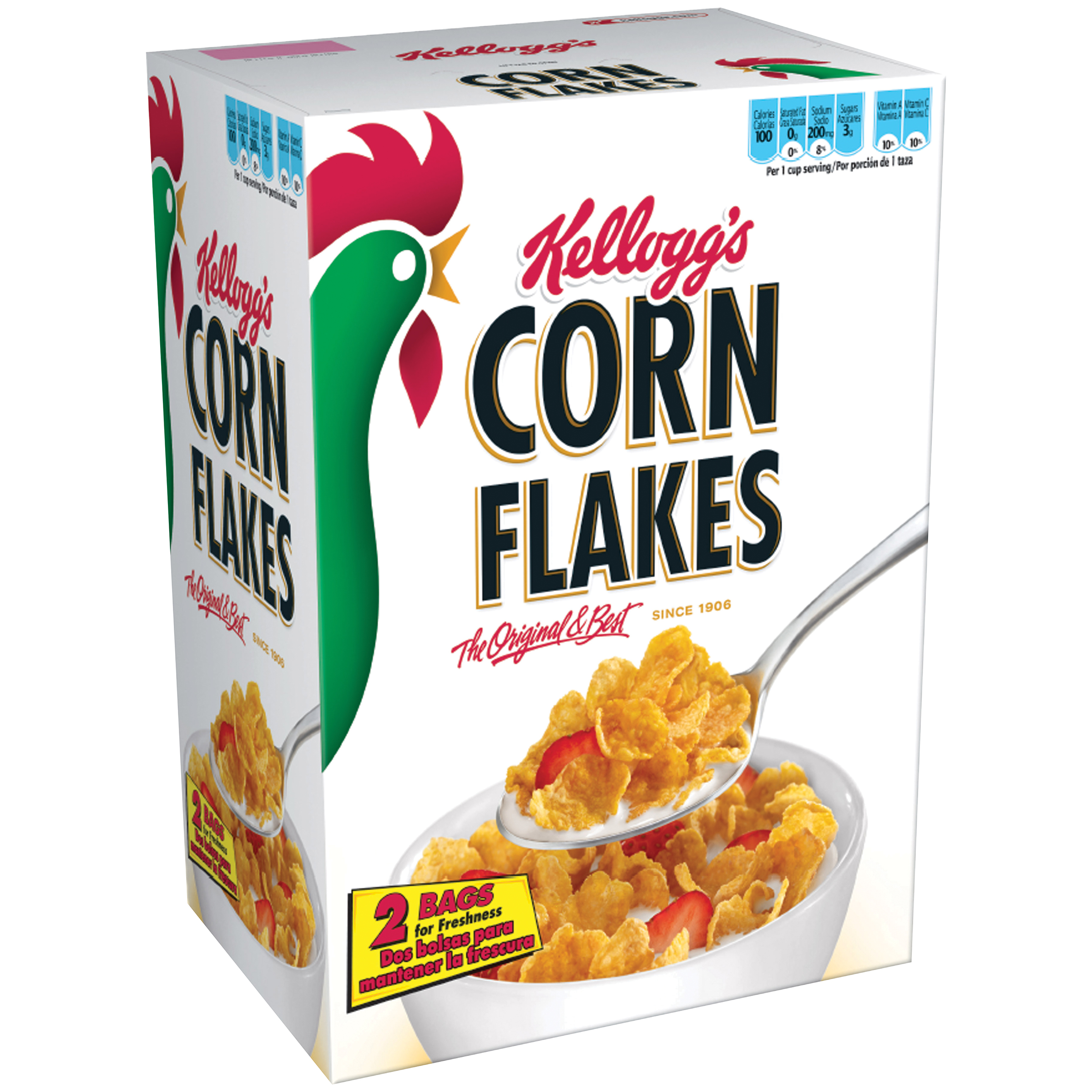 Kellogg's Corn Flakes Breakfast Cereal, 36 Oz, Twin Pack, 2 Ct