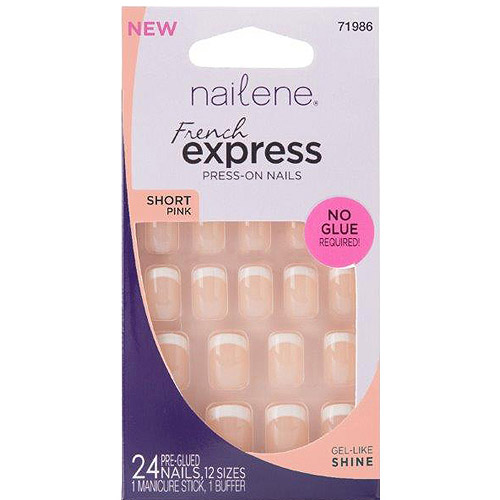 Nailene French Express Short Pink Press-On Nails, 71986, 24 count