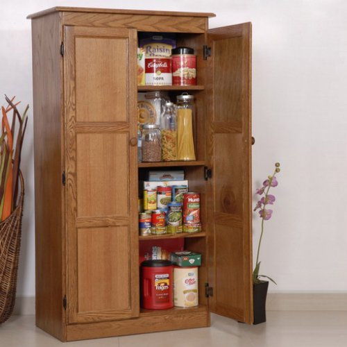 Concepts in Wood Multi-Purpose Storage Cabinet Pantry - Oak ...