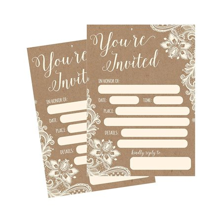 50 Fill In Invitations, Burlap and Lace, Kraft, Wedding Invitations, Bridal Shower Invitations, Rehearsal Dinner, Dinner Invites, Baby Shower Invite, Bachelorette Party Invites, Engagement, Graduation - Wedding Shower Invites