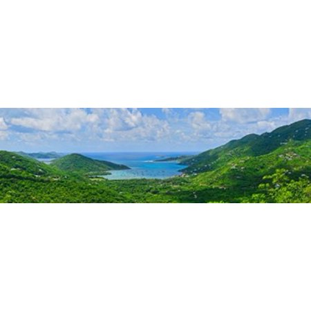 Clouds over the sea Coral Bay St John US Virgin Islands Canvas Art - Panoramic Images (18 x
