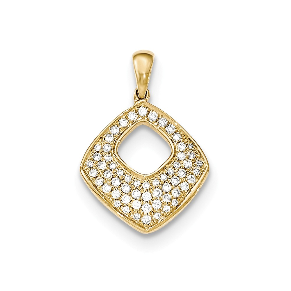 14k Yellow Gold Pave Diamond Square Pendant
