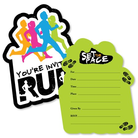Set The Pace - Running - Shaped Fill-In Invitations - Track, Cross Country or Marathon Party Invitation Cards - 12 Count