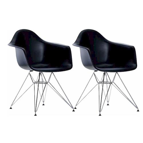 Paris Tower Chrome Leg Arm Chair (Set of 2) Black
