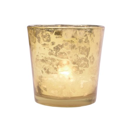 Vintage Mercury Glass Candle Holders (2.5-Inch, Lila Design, Liquid Motif, Gold) - For Use with Tea Lights - For Parties, Weddings, and Homes - Mercury Glass Votive Holders (Used Wedding Items)