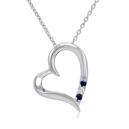 Amanda Rose Three Stone Sapphire and Diamond Heart Pendant Necklace in Sterling Silver Diamond Sapphire Heart Necklace