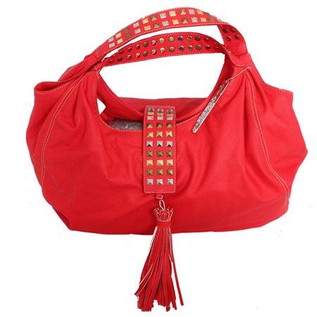 Chinese Laundry Large Studded Hobo Handbag C Red